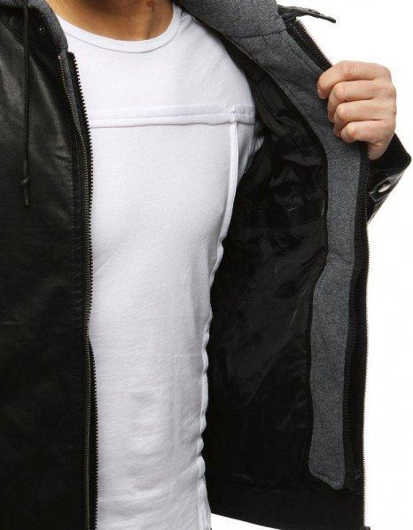 Pánska kožená čierna bunda