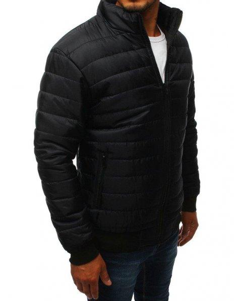 Čierna prešívaná prechodná pánska bunda