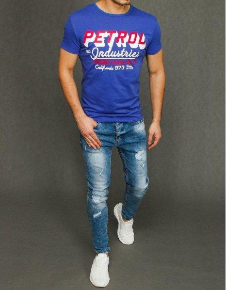Modré pánske tričko s potlačou