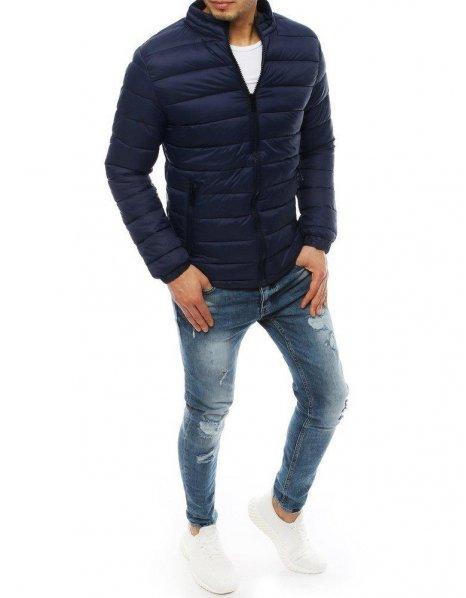 Tmavo-modrá prešívaná pánska bunda