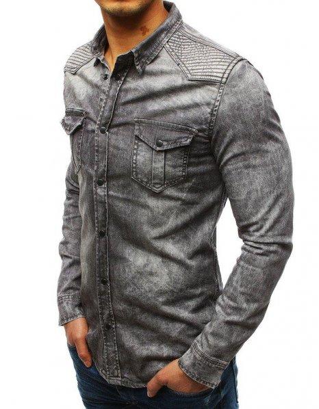 Šedá pánska džínsová košeľa