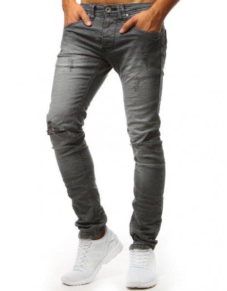 Nohavice džínsové pánske šedé