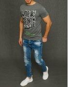 Svetlo-šedé pánske tričko s potlačou