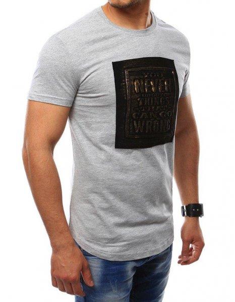 Pánske tričko s nášivkou šedé