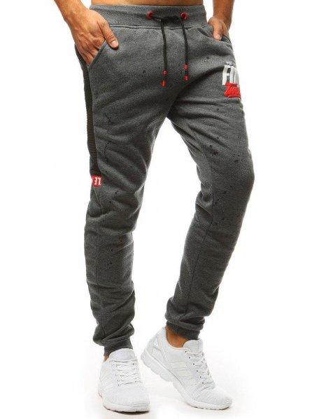 Pánske antracitové teplákové nohavice