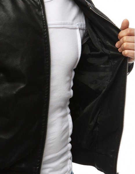 Čierna pánska kožená bunda