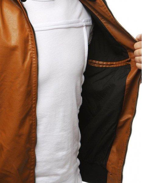 Kožená hnedá pánska prechodná bunda