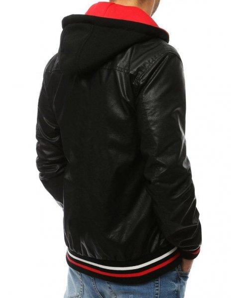 Kožená čierna pánska prechodná bunda