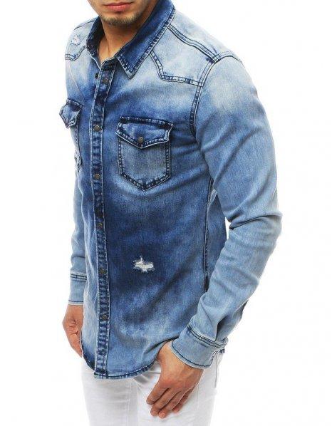 Modrá pánska džínsová košeľa