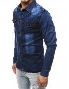 Tmavo-modrá pánska džínsová košeľa