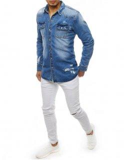 Džínsové pánske nohavice modrej farby 7