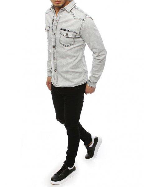 Svetlo-šedá pánska džínsová košeľa