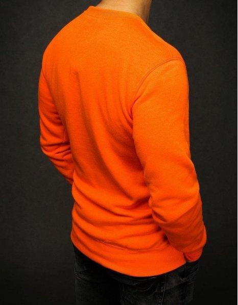 Pomarančová hladká pánska mikina
