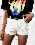 Biele dámske džínsové kraťasy Kiares