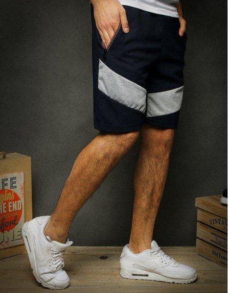 Krátke pánske tmavomodré teplákové nohavice