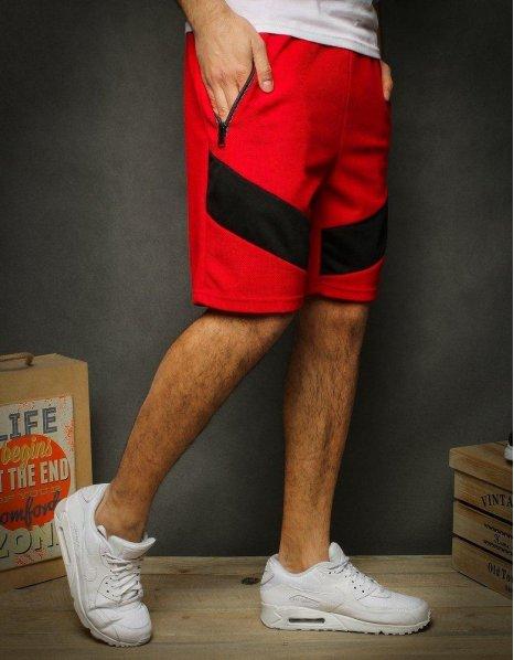 Krátke pánske červené teplákové nohavice