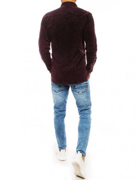 Tmavobordová pánska džínsová košeľa