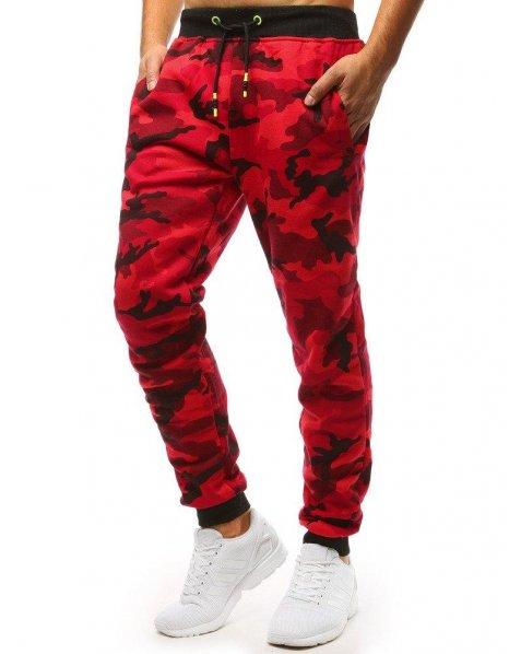 Červené maskáčové teplákové nohavice