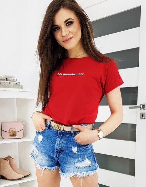 Červené dámske tričko Seniorita