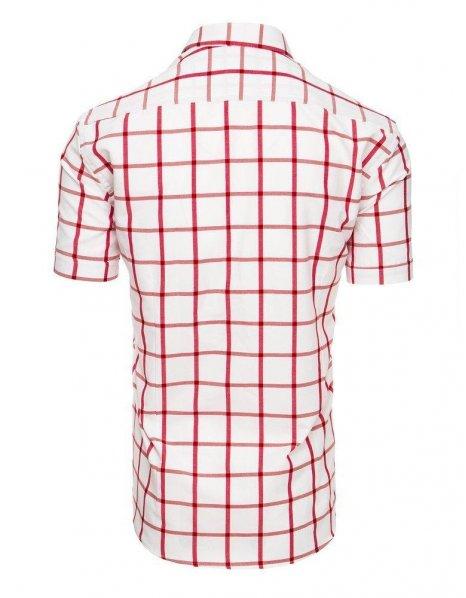 Biela pánska košeľa s kockovaným vzorom a krátkym rukávom