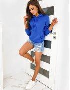 Modrá dámska mikina Basic s kapucňou