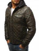 Khaki pánska kožená zimná bunda