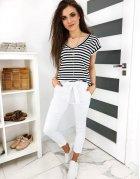 Biele dámske nohavice Lovely Basic