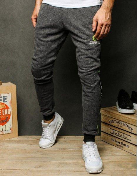 Tmavo-šedé pánske teplákové nohavice