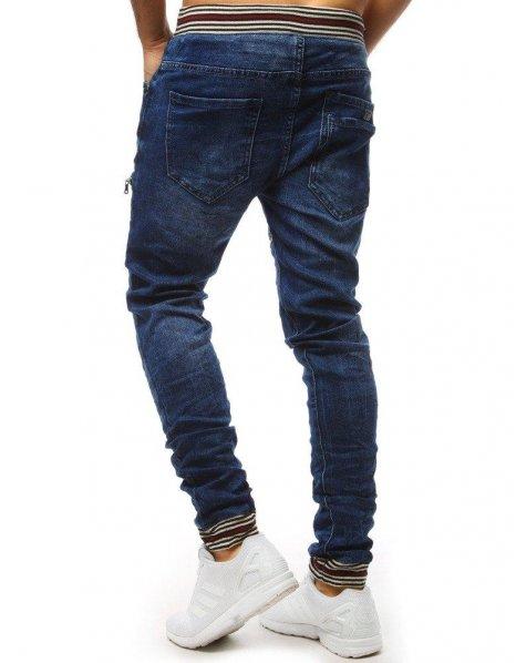 Nohavice joggery džínsové pánske modré