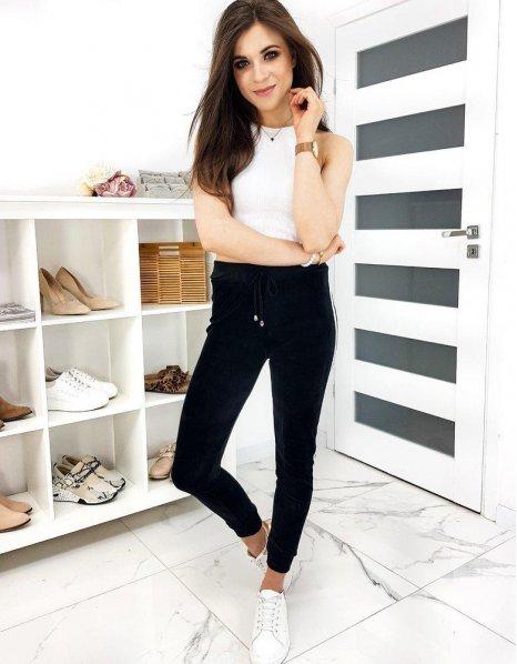 Čierne teplákové nohavice Milu
