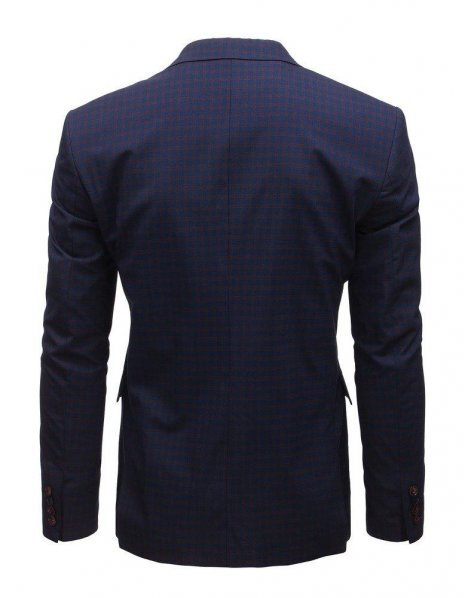 Pánske tmavomodré sako s kockovaným vzorom