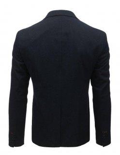 Tmavomodré sako s hnedými záplatami