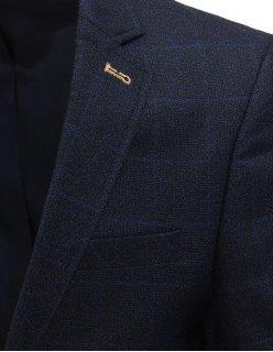Moderné tmavomodré sako s ozdobnými rukávmi