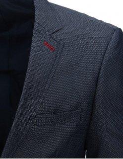 Ležérne tmavomodré sako s čiernymi záplatami
