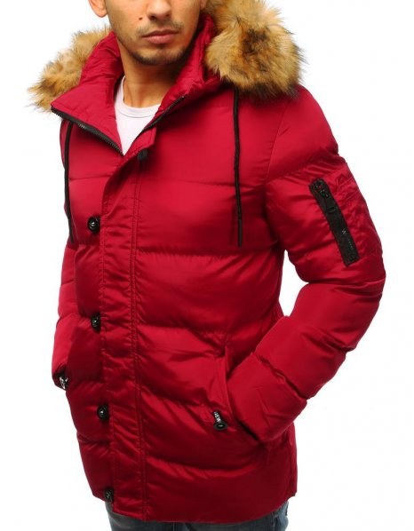Bunda pánska zimná prešívaná červená