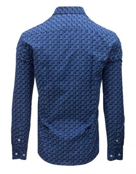 Košeľa pánska eleegantná so vzorom modrá