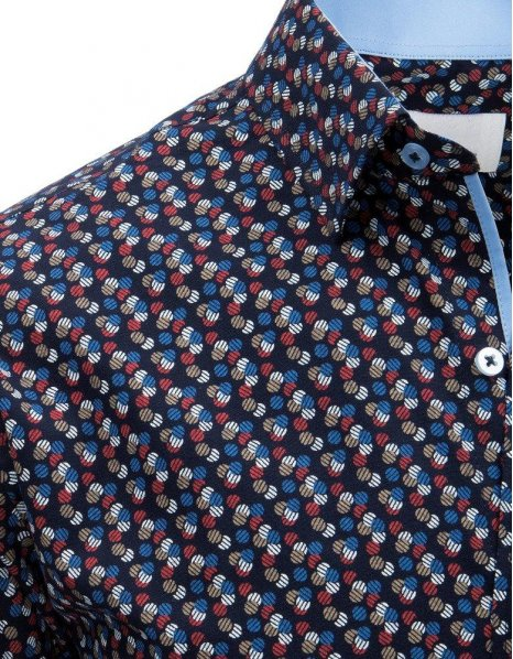 Košeľa pánska eleegantná so vzorom tmavomodrá