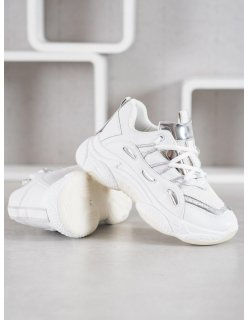 Pohodlné bielo-ružové športové topánky