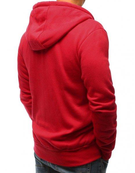 Červená rozopínateľná pánska mikina s kapucňou