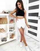 Biela džínsová sukňa Fusim