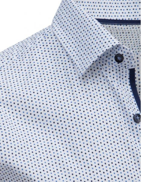 Biela elegantná pánska košeľa so vzorom