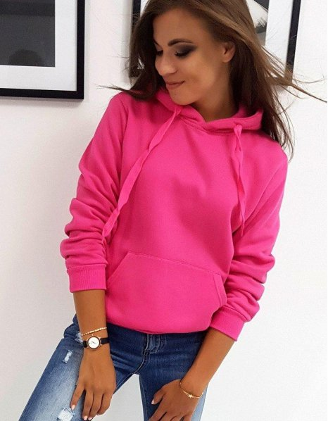 Silno ružová dámska mikina Basic s kapucňou