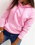 Ružová dámska mikina Basic s kapucňou