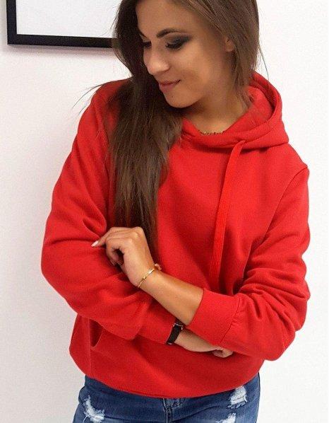 Červená dámska mikina Basic s kapucňou
