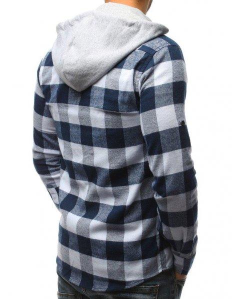 Pánska kockovaná bielo-tmavomodrá košeľa