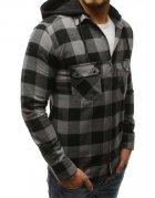 Pánska kockovaná šedo-čierna košeľa