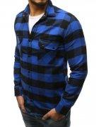 Pánska kockovaná modro-čierna košeľa