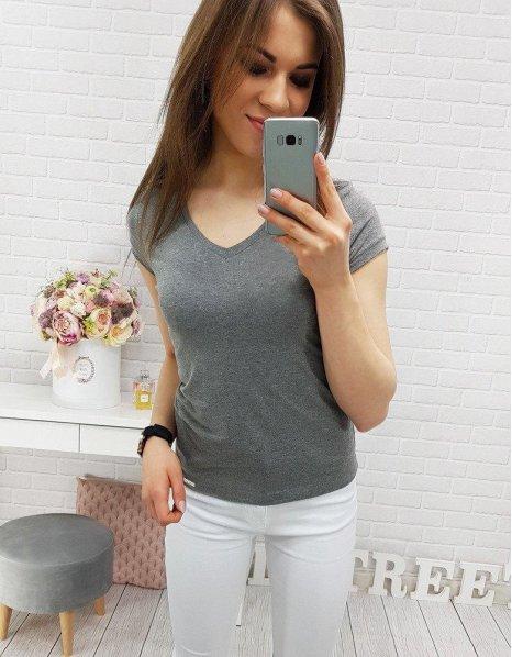 Antracitové dámske hladké tričko