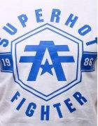 Biele tričko s potlačou SuperHot Fighter