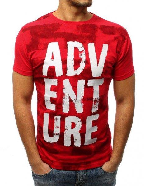 Červené tričko s potlačou ADVENTURE